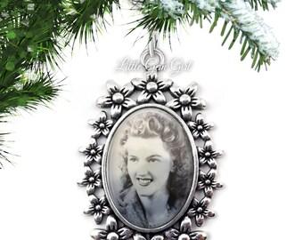 Custom Photo Christmas Tree Ornament - Memorial Picture Ornament - Silver Flower Charm - Memorial Keepsake Ornament - Christmas Memorial