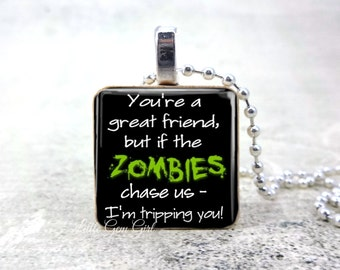 Funny Zombie Jewelry - Best Friend Zombie Necklace Pendant - Walkers Friendship Necklace Wood Tile
