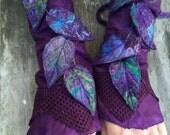 Purple Faerie Cuffs-woodland cuffs-  forest gloves- Cuffs- Folkowl Cuffs - fingerless gloves-Forest Cuffs - Faerie Cuffs - armwarmers