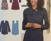 Simplicity 8216, Size 14-16-18-20-22, Misses' Mini-Dress or Tunic with Neckline and Sleeve Variations Pattern, UNCUT, 2016, Designer Pattern
