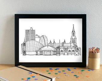Leicester Landmarks Print - Leicester Skyline Art Print - Leicester Wedding Gift - Leicester Cityscape - Leicestershire Housewarming Gift