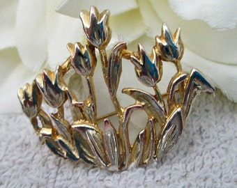 Vintage Gold-tone Tulips Brooch