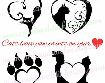 Cats SVG - Cat Paw SVG - Cat Lovers SVG - Digital Cutting File - Graphic Design - Cricut Cut - Instant Download - Svg, Dxf, Jpg, Eps, Png