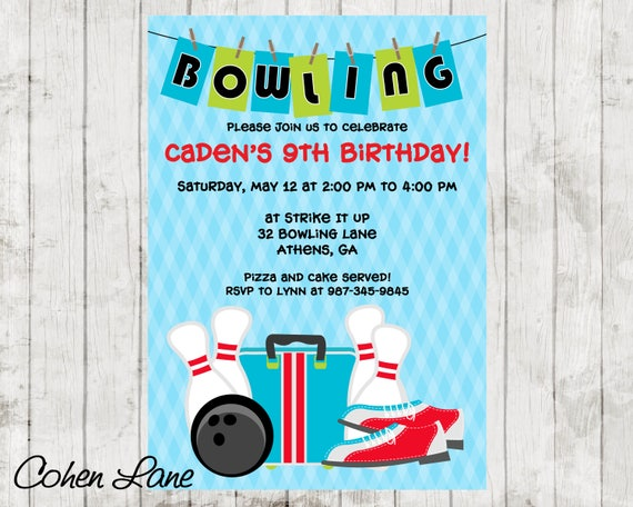 printable bowling party invitation bowling birthday party invite