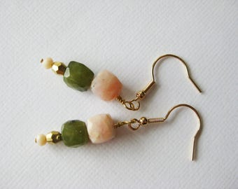 Dangle earrings with cube beads in pink opal and green natural vessonite, gold filled hooks.