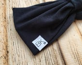 The Best Headband you will ever own! Navy Bamboo fabric gathered in the front, with a cinch bow in the back