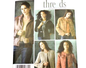 Simplicity 4328 Sewing Pattern, Lined Long Sleeve Jacket Misses/Miss Petite Size 6 8 10 12 Threads Magazine Collection Uncut itsyourcountry
