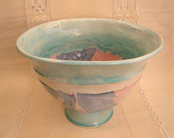 Porcelain Bowl, Hand Built Pottery, Patchwork Textures, Pink, Lavender, Turquoise, One of a Kind