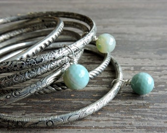 ON SALE Stacked Bracelet Set: Bohemian Indian Gypsy Festival Jewelry, Turquoise Agate and Silver Bangles, Boho Engraved Bracelet Set, India