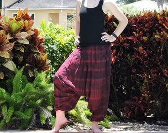 Maroon Harem Pants: Tie Dye Cotton Yoga Pants, Aladdin Pants, Burgundy Red Genie Pants, Baggy Pants, Maternity Pants, Hammer Pants