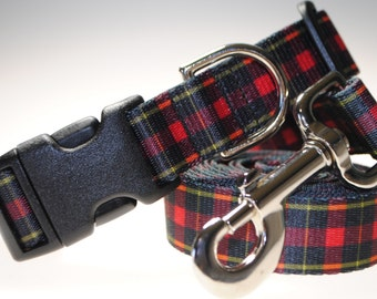 """Red Plaid Collar and Leash Combination - 1"""" Width"""