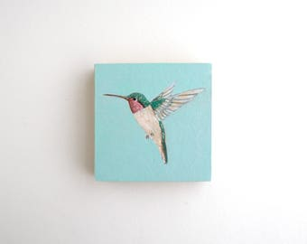 Hummingbird Mixed Media Painting - 3 x 3