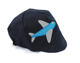 BOYS Reversible Airplane Hat - Navy Blue Airplane Cap - Baby, Toddler or Kids - S