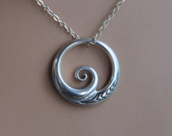 Sterling Silver Maori Koru, 925 Pendant on sterling chain~ wave pendant,connections with the ocean. Tribal ethnic jewelry