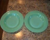 "FREE USA Shipping 2 Vintage Fire King Jadeite/Jadite 9"" Flanged Flat Rim Soup Bowls"