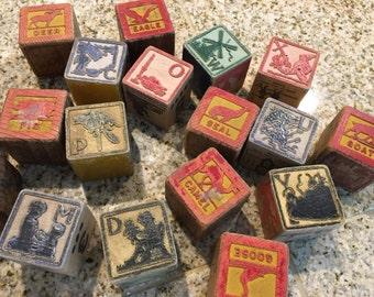 18 Wood Block vintage antique building alphabet  rustic block letters