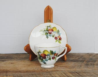 Vintage Tea Cup and Saucer Duchess Bone China Fruit Design