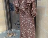 vintage original dress flapper clothing art deco textiles 1920's floral rayon 1930's