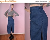 CYBER MONDAY SALE 90s High Waisted Blue Denim Skirt/ 27 Waist/ 1990s/ Jean Skirt