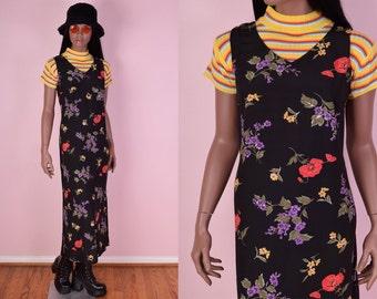 90s Floral Print Maxi Dress/ Medium/ 1990s