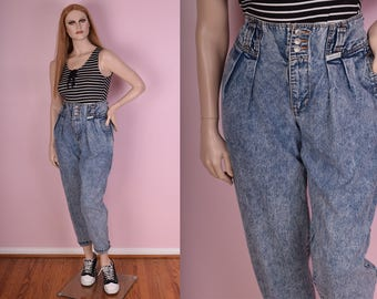 80s High Waisted Stone Wash Jeans/ US 10/ 1980s/ Mom Jeans/ Pants/ Denim