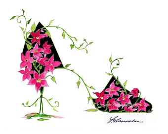 Dark Pink Flower and Vine Shoe 2016 Print - Signed & Enhanced with Paint. Free Shipping - Wall Art