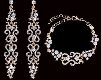 Wedding jewelry set, Bridal earrings, Bridal bracelet, Bridal jewelry set Gold plated zircon crystal earrings, Vintage inspired earrings