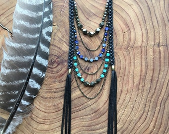 Pyrite, Lapis, Turquoise Leather Braided Ladder Necklace