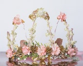 Flower Crown - Gold and Pink Wire Crown - Fairy Crown - Flowergirl hairpiece -Newborn Photo Prop - Wedding Crown - Floral Hairpiece