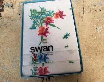 Vintage floral Swan handkerchiefs in original box, set of 3