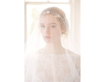 Drop Wedding Veil, Silk style drop wedding veil, drop bridal veil, drop veil, circle veil, drop veil