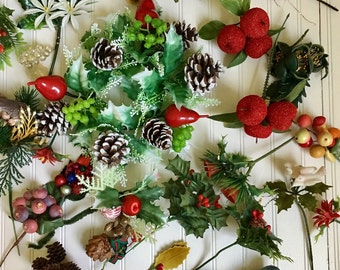 Vintage Christmas Crafting Lot, 26 pieces, Plastic flowers, birds, plastic fruit berries, candle ring , pine cones, wreath making supplies