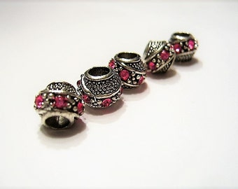 5 Fancy Barrel Spacers with HOT PINK, Czech Crystals, Tibetan /  Antique Silver  European Style, Beads for Bracelets, Euro
