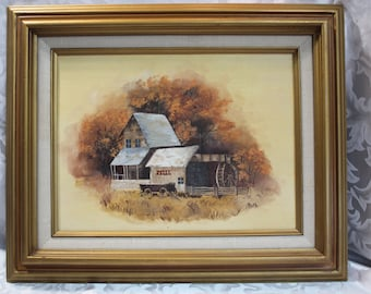 Vintage Acrylic Painting on Canvas Board - Signed Art - Grist Mill