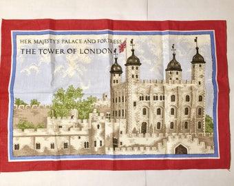 Vintage English Tower of London Tea Towel Linen