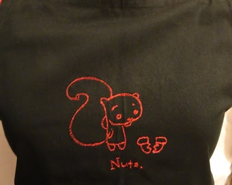 """Squirrel """"nuts""""  Black embroidered cooking apron"""