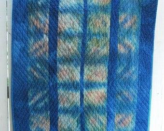 Organic Cotton Quilt, Hand-Dyed Fiber Art Quilt, Wall Hanging, Cabin Quilt, Couch Quilt, Toddler Quilt, INDIGO DIVIDED SKY