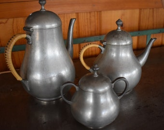 Vintage Danish Modern Pewter Tea Set