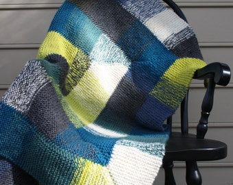 Chunky Knit Wool Throw/ Blue, Green, Yellow Lap Blanket