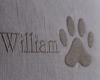 Personalised dog name and paw print pillow cover