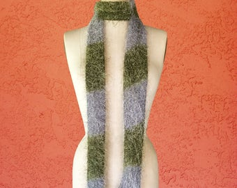 Fuzzy Skinny Scarf / Tie / Green / Gray / Tie-Dye / Bohemian Accessories / Hippie