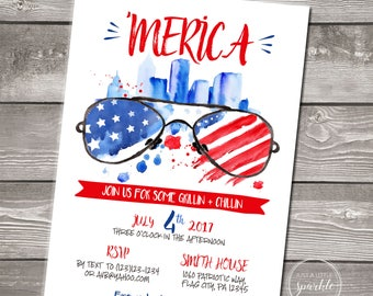 4th of July invitation, digital fourth of july invitation, Fourth of July invite, 4th of July invite