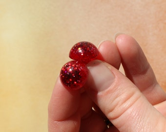 """Red Glitter Safety Eyes """"Ruby Slippers"""", Hand Cast- 6mm, 8mm, 9mm, 12mm, 14mm, 15mm, 16mm, 18mm, 20mm, 24mm"""