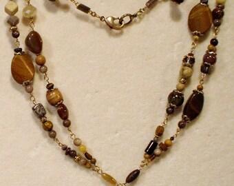 Vintage Genuine Gemstone Double Strand Necklace