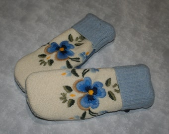 Recycled Felted Wool Sweater Mittens-Blue Flower Upcycled Wool Mittens Super Warm-Womans Accessories-OOAK