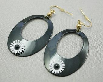 Vintage Black Enamel Earrings Retro Earrings
