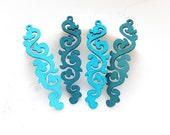 Dyeing Series - 18x 66 mm Filigree Blue / Violet Long Lace Wood Dangle/ Wooden Charm/Pendant/Wood Earring Findings/Embellishments NM155
