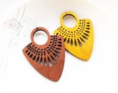 Dyeing Series - 39x 54mm  Filigree Light Brown / Coffee Fan Shape Geometrical Wood Dangle/ Wooden Charm/Pendant / Wood earrings NM135
