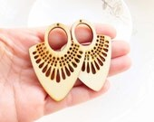 Dyeing Series - 39x 54mm  Filigree Nature / Black Fan Shape Geometrical Wood Dangle/ Wooden Charm/Pendant / Wood earrings NM135
