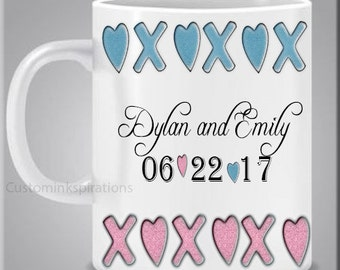 Unique Personalized Save the Date Wedding Engagement Anniversary Coffee Tea Mug Custom Name Date 12 ounce Dishwasher safe Vibrant colors
